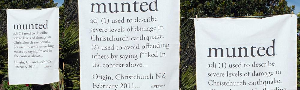 Munted Christchurch earthquake NZ design tea towel Martin Anderson
